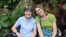 My mom and I when we visited the butterfly museum last summer.